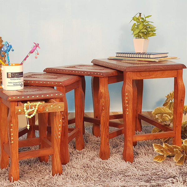 Hand Carved Nesting Table Set of 4