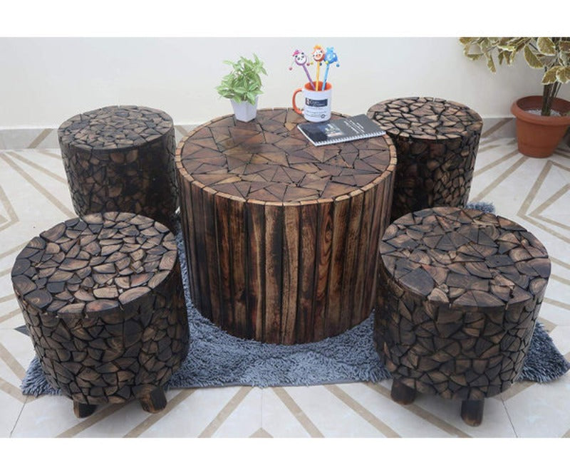 Bloque De Madera Coffee Table Set Brown