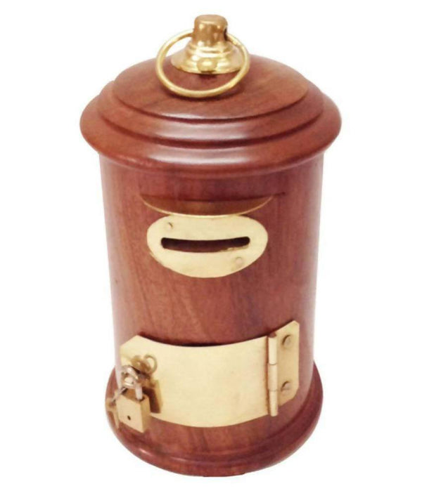 Post Box Coin/Money/Piggy Bank Saving Box Made with Rosewood | Wooden Brass Inlay