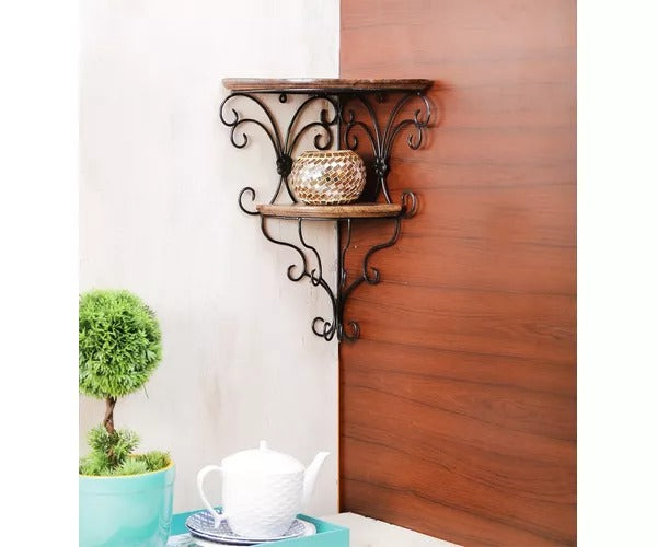 Wooden & Wrought Iron Wall Bracket Corner Shelf