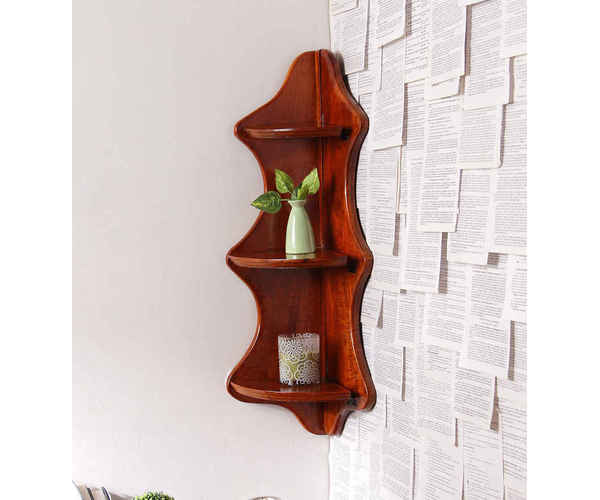 Wooden Triple Shelf Esquina Corner Wall Shelves