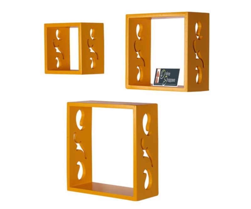 Wooden Square Nesting Floating Wall Shelves Set of 3