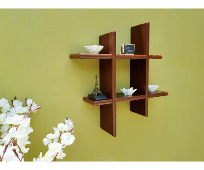 Wooden Criss Cross Floating Shelf