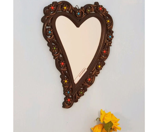 brown wood wall decor mirror