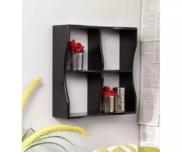 Wooden Handicraft Four compartments Designer Kitchen Wall Shelf
