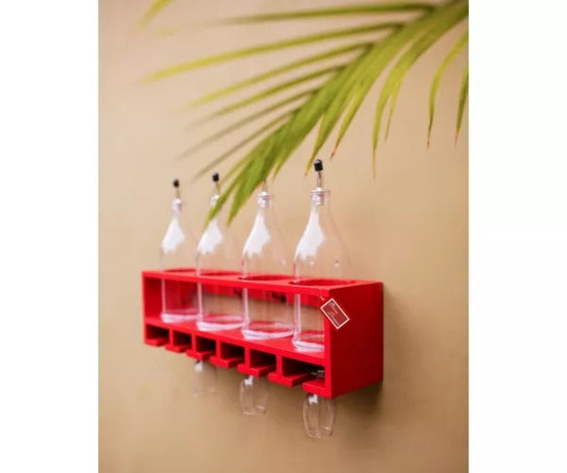 Unique Wooden Bottle Rack, 4 Bottles Holder Wall Shelves