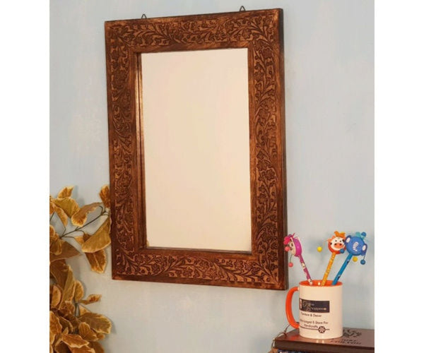 black wooden wall decor mirrors