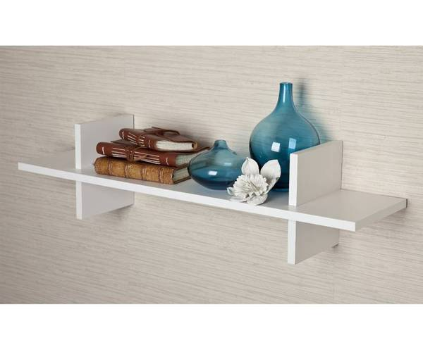 white floating wall shelf
