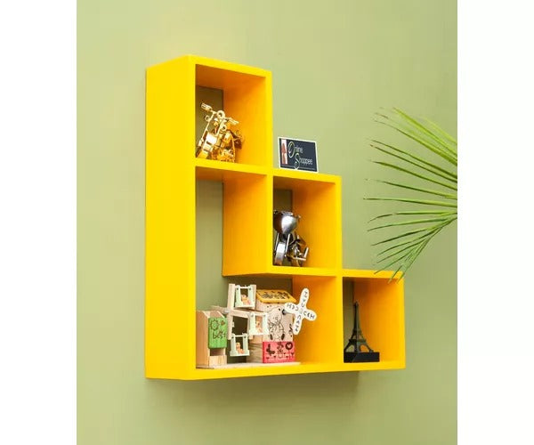 Wooden Handicraft Red Designer L Shape Wooden Wall Shelf