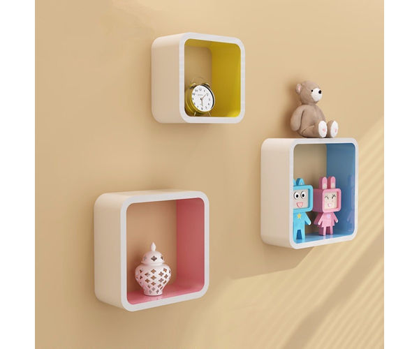 Wooden Artesania Cube Floating Wall Shelves Set of 3