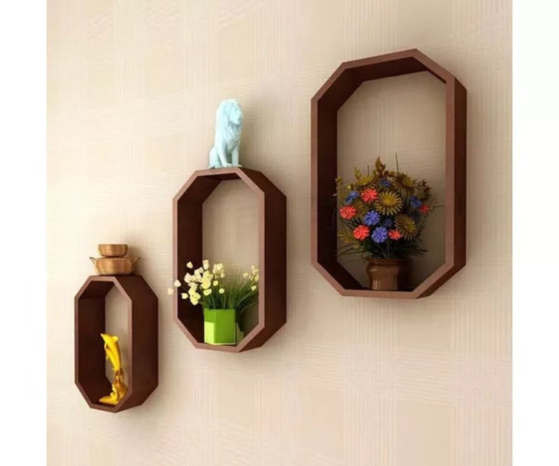 Wooden Fancy 3 Pcs Octagon Shaped Floating Wall Shelf