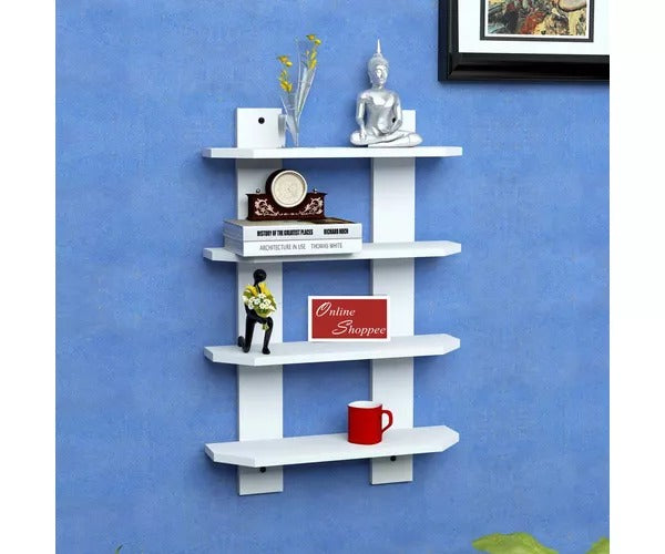 Wooden Floating Ladder Shape Designer Wall Shelves