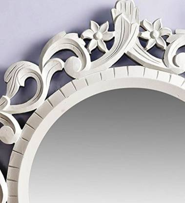 white wooden wall decor mirrors