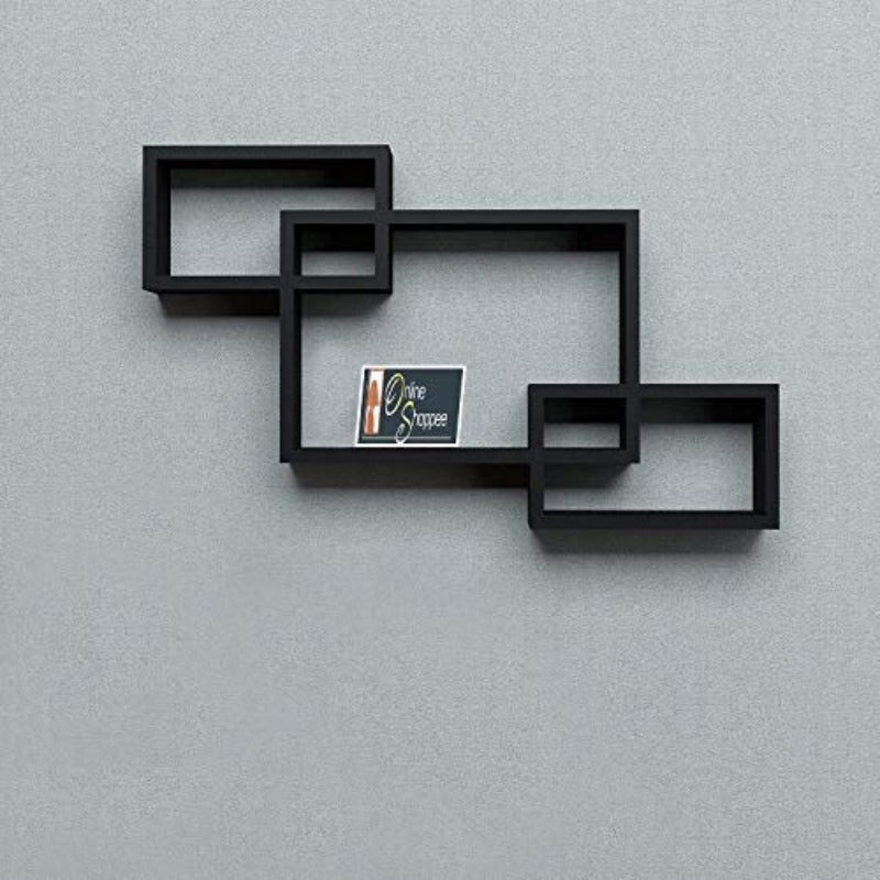 Intersecting Wooden Floating Wall Shelves Set of 3