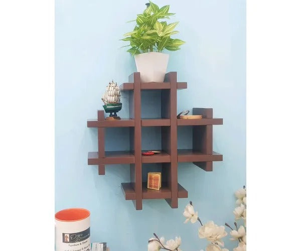 Wooden Multiple Compartments Floating Wall Shelf