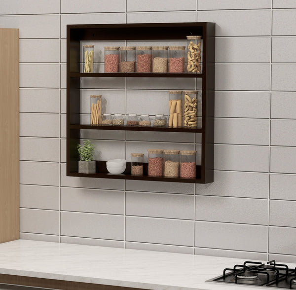 Big Wooden Kitchen Wall Shelf Rack Multi-Function Shelf (Brown)