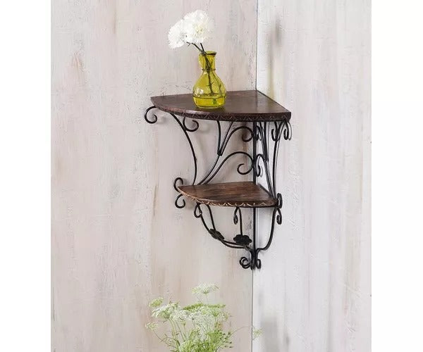 Wooden,Home Decor Wall Hanging Fancy Double Bracket  Iron Wall Shelf