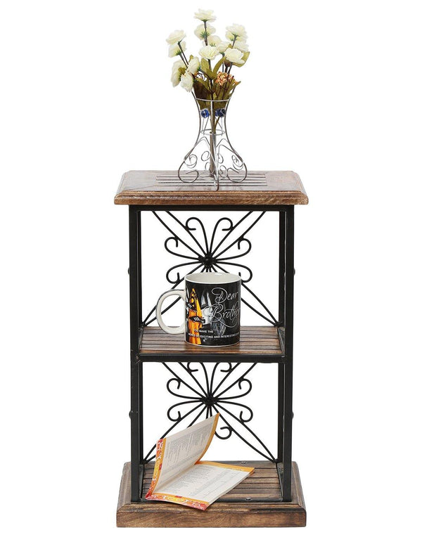 Wooden and wrought iron book shelf
