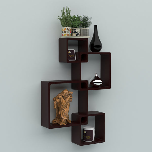 Rafuf Intersecting Floating Wall Shelves with 4 Shelves