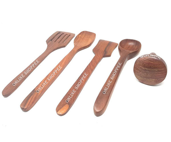 Sheesham Wood Kitchen Essentials Spoon Set with Masher