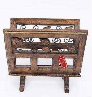 handcrafted wooden magazine rack