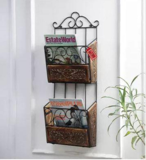 wooden and iron magazine rack