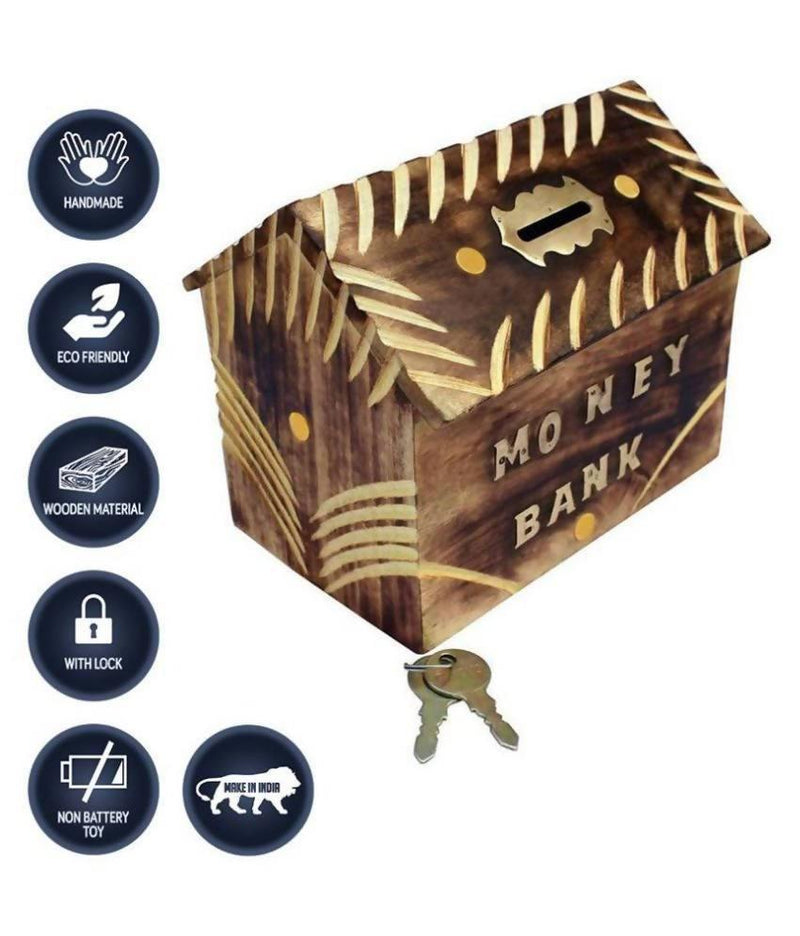 Hut Shape Wooden Coin/Money/Piggy Bank Saving Box -(Brown)