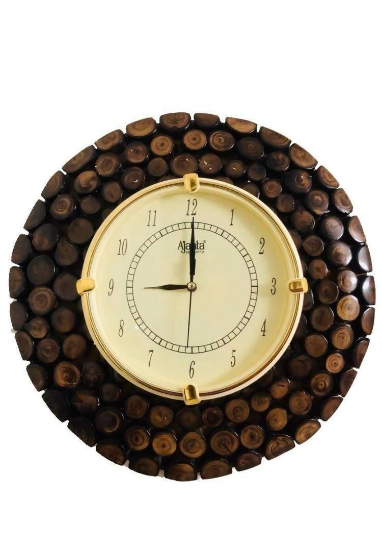 Wooden Round Shape Hanging Wall Clock Antique