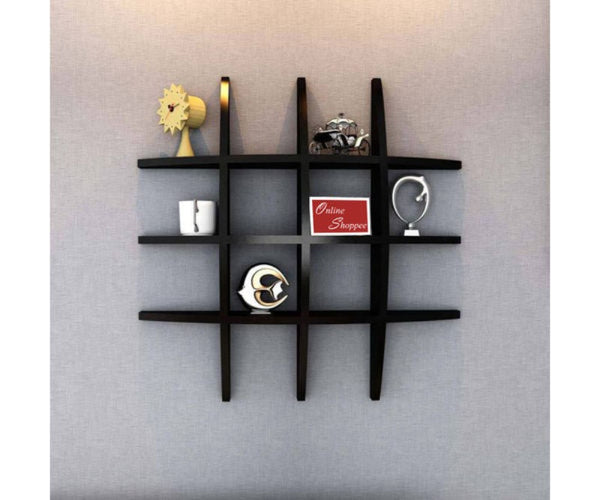 black floating wall shelf