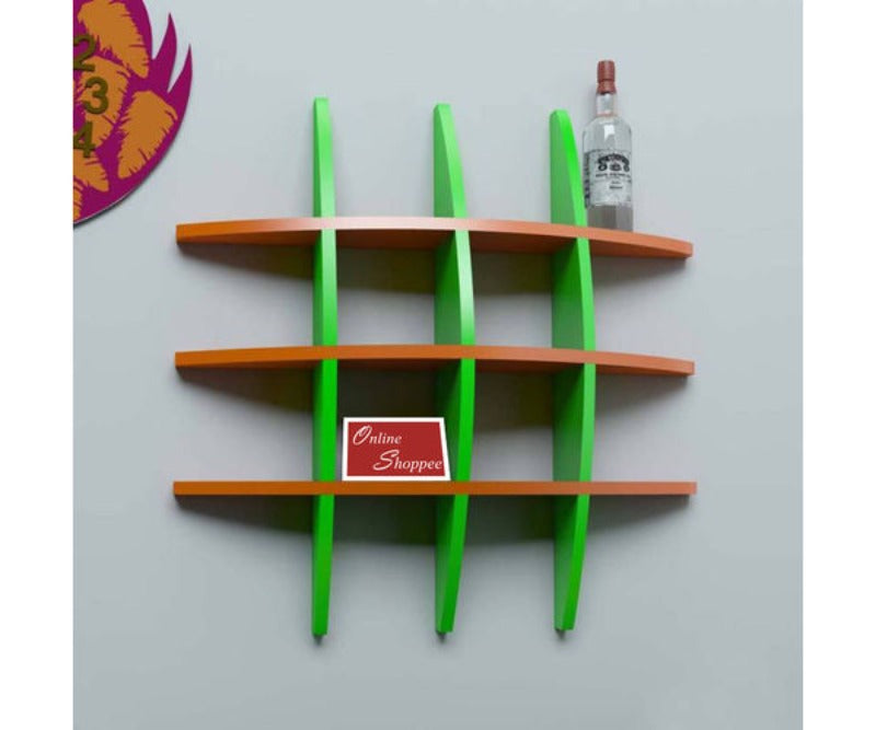 multi color wall shelves