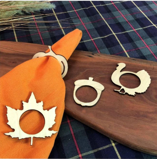 Creatick Studio Pumpkin, Leaf and Hen Wooden Napkin Rings for Table Decor