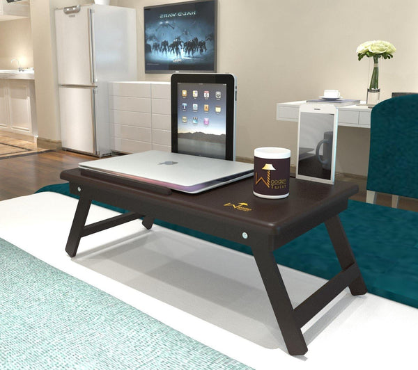 Premium Quality Wooden Laptop Table With Tablet & Mobile Holder