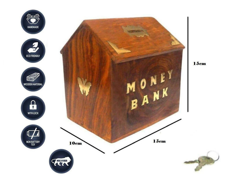 Hut Shape Wooden Coin/Money/Piggy Bank Saving Box - (Made with Rosewood | Brass Inlay)