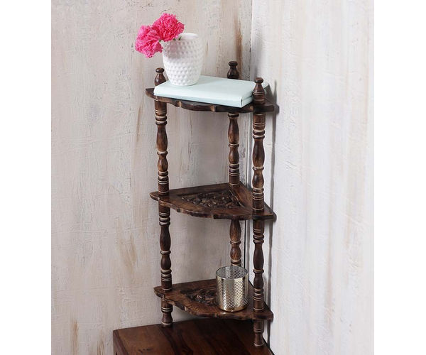 Wooden Mini corner rack side table  carved end table