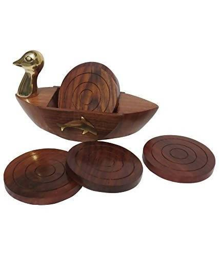 Wooden Coaster Set Duck Shape with Brass Neck (Set of 6) for Dinning Table n Kitchen