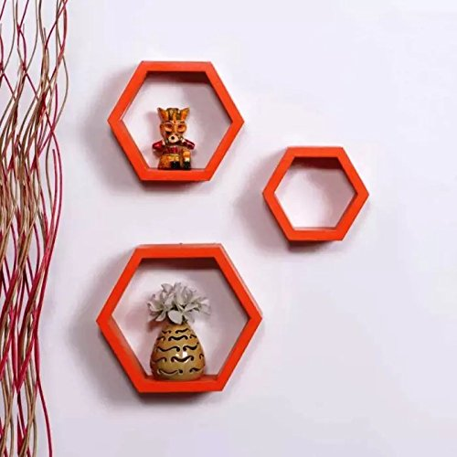 Hexagonal Shape Wooden Floating Wall Shelves Set of 3