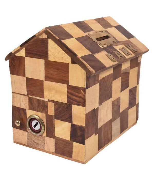 Hut Shape Chess Pattern Wooden Coin/Money/Piggy Bank Saving Box