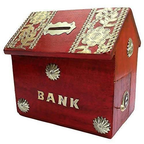 Hut Shape Wooden Coin/Money/Piggy Bank Saving Box - (Red)