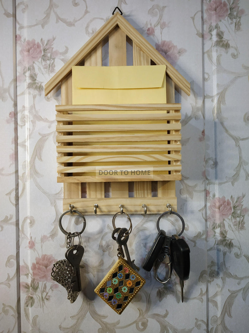 Hut Shaped Letter Rack Cum Key Holder in Pinewood