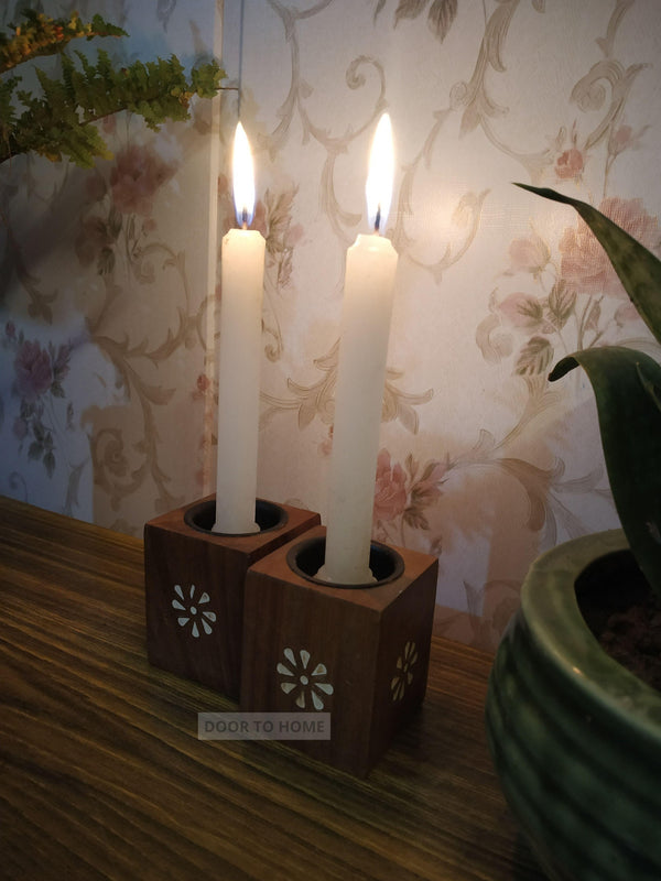 Wooden Decorative Candle Holders ( Set of 2 )