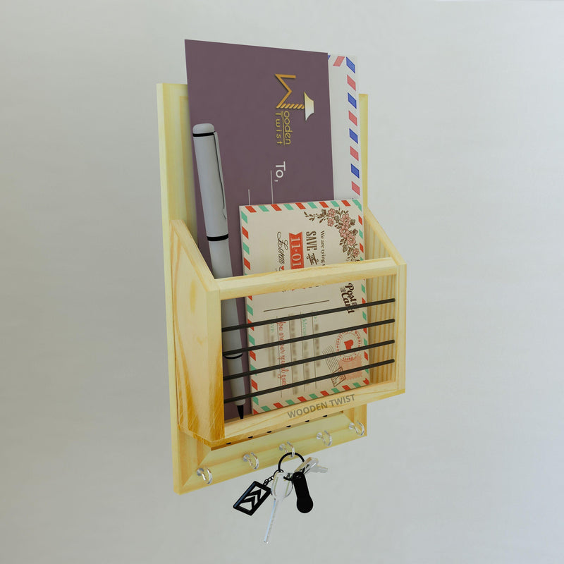 Premium Pine Wood Letter Rack Cum Key Holder