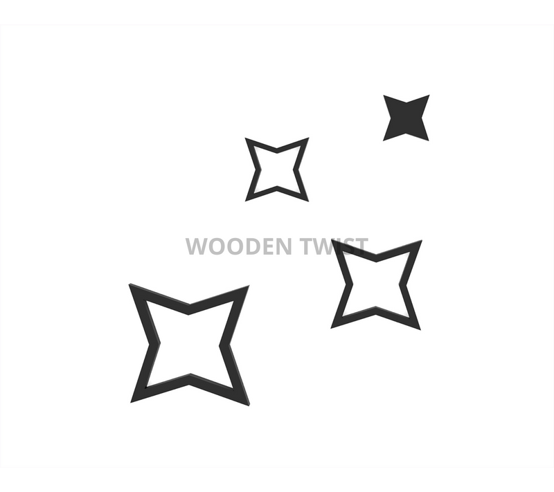 Decals Design Stars Wooden Wall Sticker