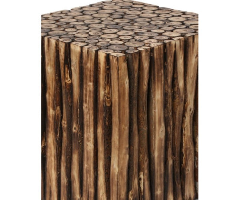 Bloque De Madera Wooden Square Coffee Table With 4 Stool