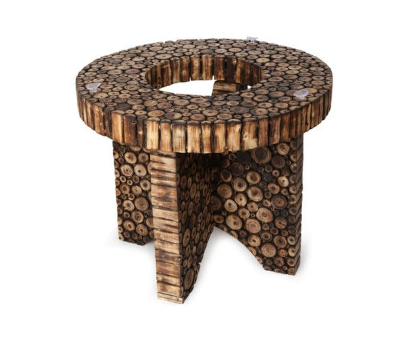 Wooden Antique Round Shaped Coffee Table With 4 Stool