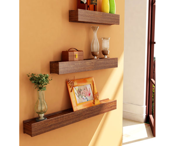 Rectangular Wooden Floating Wall Shelves Set of 3