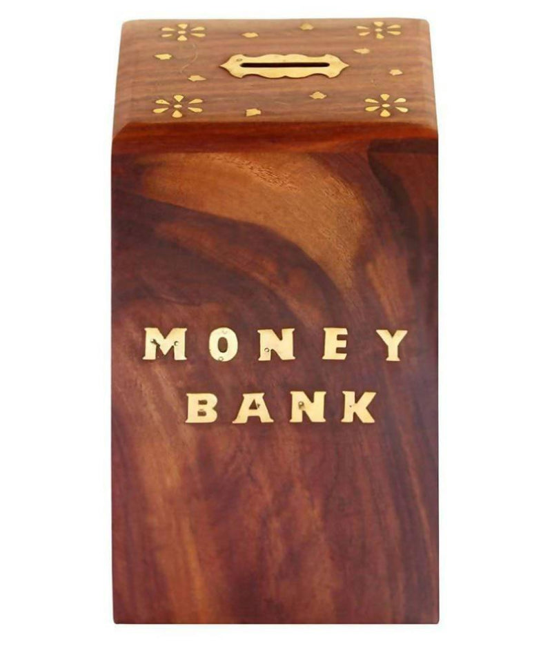 Dolphin Coin/Money/Piggy Bank Saving Box - ( Made with Rosewood | Full Brass Inlay )