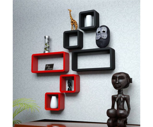 Wooden Cube Shape Floating Wall Shelves Set of 6