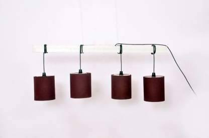 Wooden Ceiling Lamp with Round Brown Shades