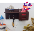 wooden key holder with shelf