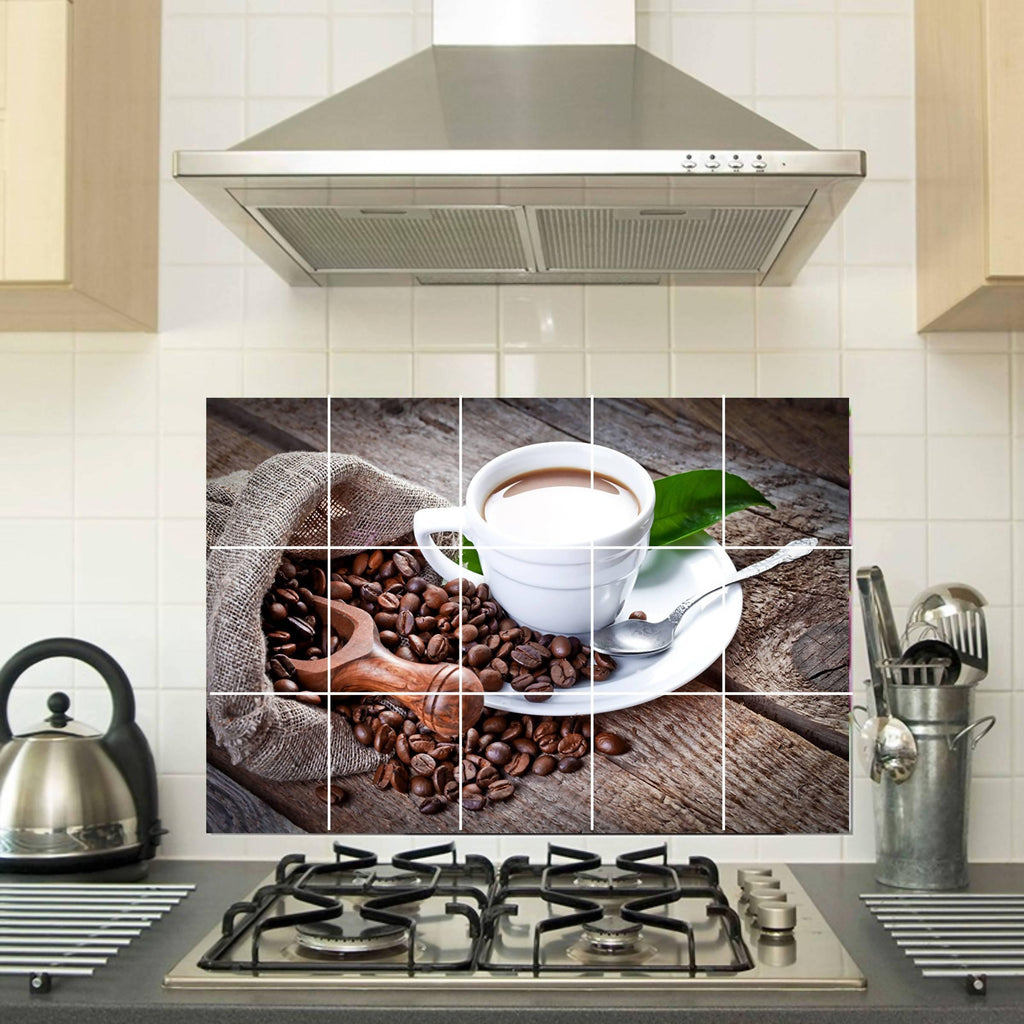 Kitchen Coffee Mug With Coffee Beans Wall Sticker